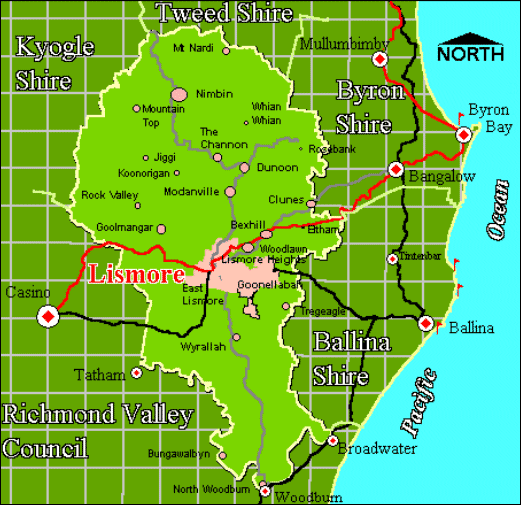 Map of Lismore and surround areas which are serviced by Sanctuary Pest Control and Termite Management